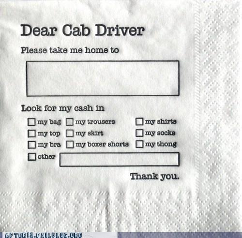 bar,cab,clever,designated driver,napkin