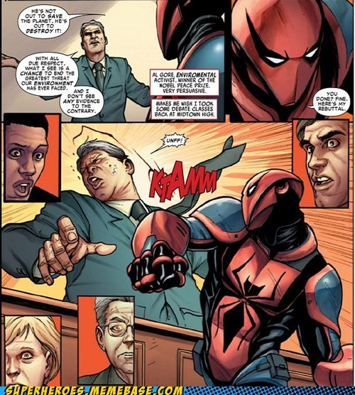 fist global warming punch Spider-Man Straight off the Page