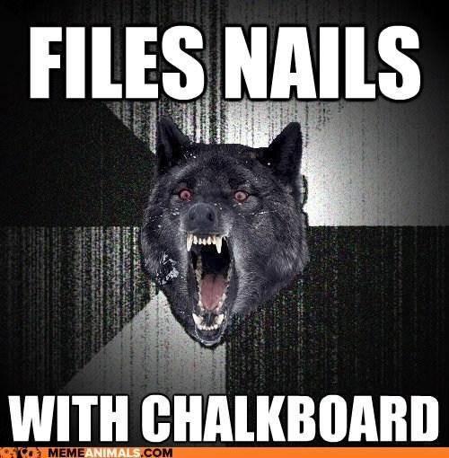 chalkboards insane Insanity Wolf Memes nails noises wolves - 6045691904