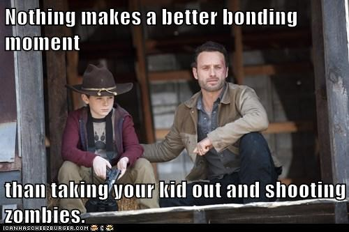 Andrew Lincoln bonding carl grimes chandler riggs father and son Rick Grimes shooting The Walking Dead zombie