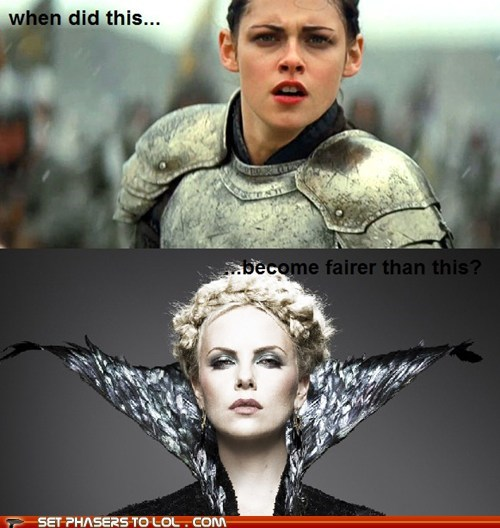 charlize theron fair hotter than this kristen stewart queen snow white snow white and the huntsman when did this