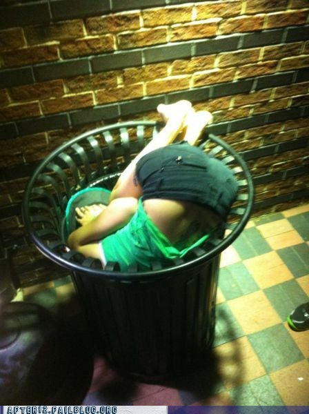 drunk in public,garbage,long night,passed out,recycling,trash bin