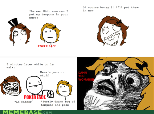 parenting,poker face,Rage Comics,raisin face,tampons