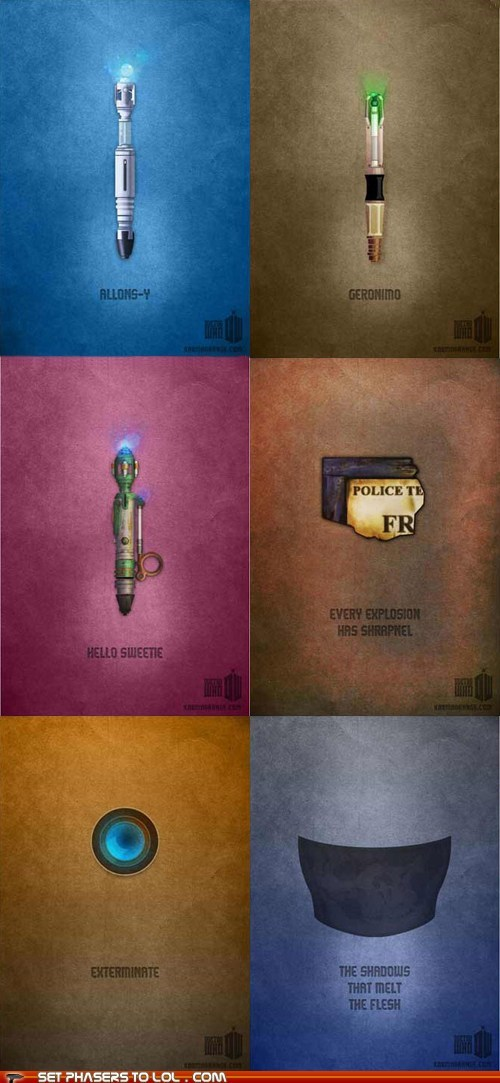 best of the week,dalek,doctor who,eleventh doctor,geronimo,minimalist,River Song,shadows,silence in the library,sonic screwdriver,tenth doctor