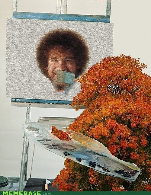 bob ross,Like a Boss,painting,reversed,trees