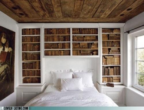 bed bookcase books window