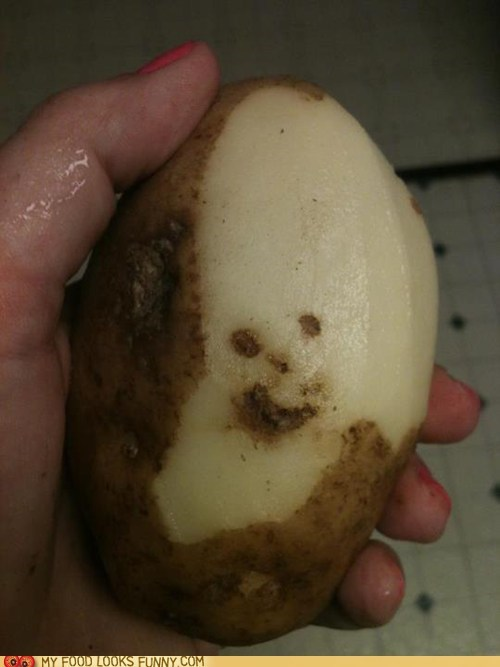 face happy peel potato smile