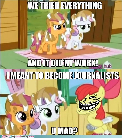 apple bloom,comics,journalism,specific,troll,u mad