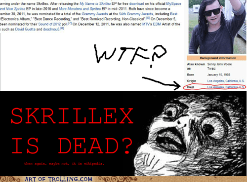 Death,raisin face,skrillex,wikipedia