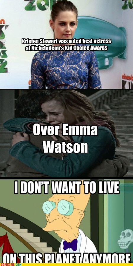 emma watson,From the Movies,i-dont-want-to-live-in-t,kids choice,kristen stewart