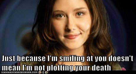 best of the week,Death,Firefly,Jewel Staite,just because,Kaylee Frye,plotting,smiling