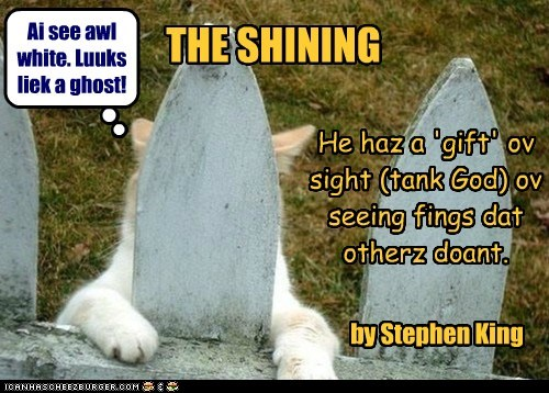 THE SHINING by Stephen King He haz a 'gift' ov sight (tank God) ov seeing fings dat otherz doant. Ai see awl white. Luuks liek a ghost!