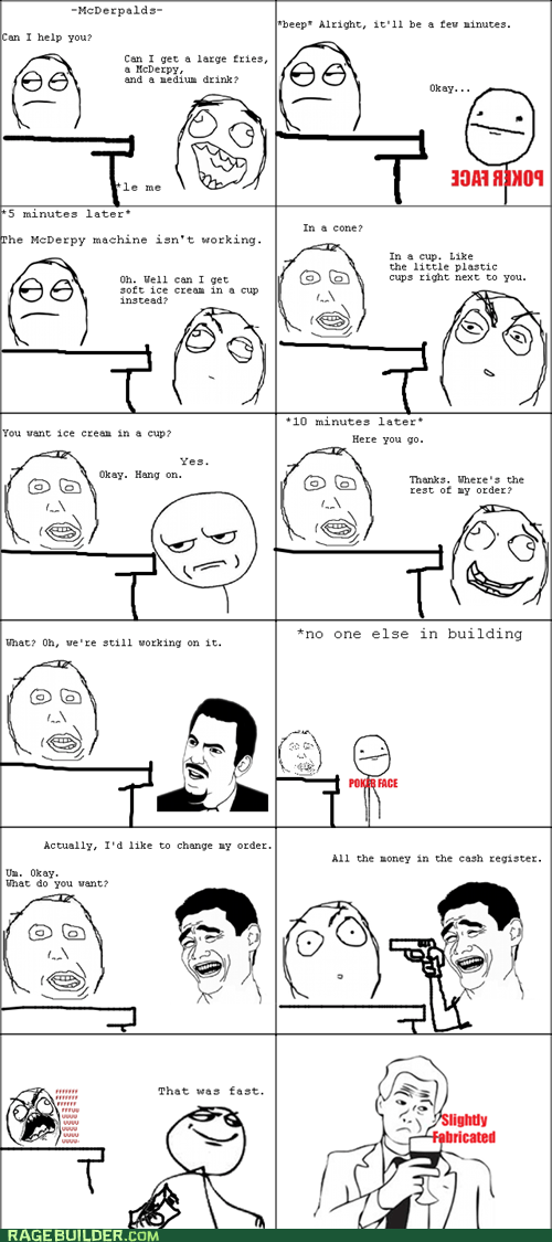 derp McDonald's poker face Rage Comics - 6058535168