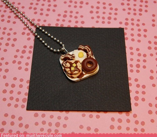 bacon breakfast chain donut eggs necklace pancakes - 6058821376