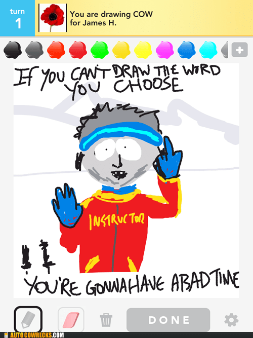 draw something,not a cow,ski instructor,South Park
