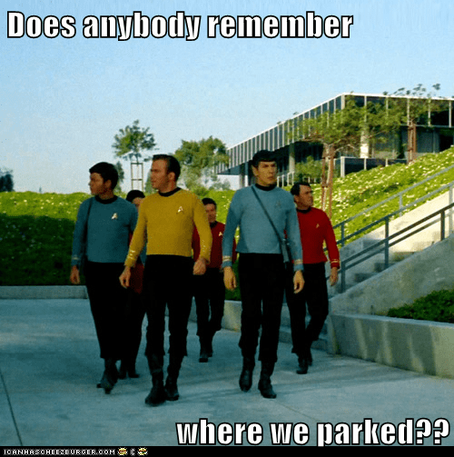 Captain Kirk,DeForest Kelley,Leonard Nimoy,lost,McCoy,parking,remember,Shatnerday,Spock,Star Trek,William Shatner