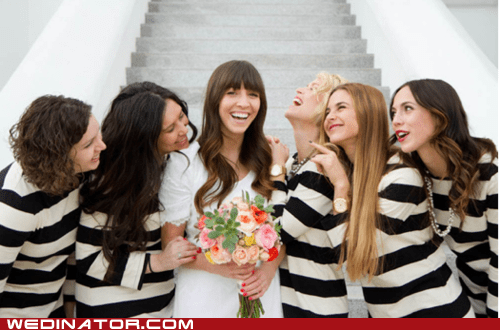 bridesmaids dresses funny wedding photos jail prison stripes wedding