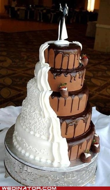 cake,chocolate,dessert,funny wedding photos,half,wedding cake