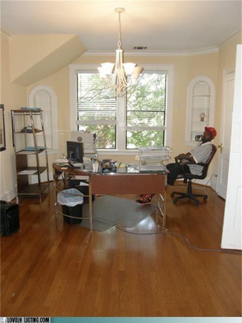 chair chandelier hardwoods man Office work