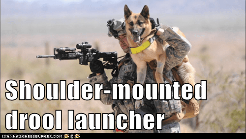 dogs drool German Shepard military soldier soldiers weapons