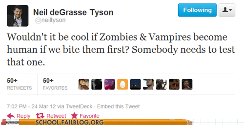 Neil deGrasse Tyson,The Walking Dead,twitter,vampires,zombie