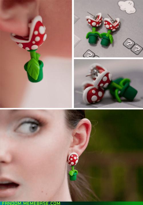 cute earrings Fan Art fandom Super Mario bros video games - 6061067008