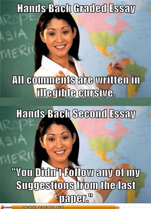 cursive essays illegible teacher meme - 6061132032