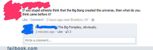 big bang,evolution,failbook,Featured Fail,religion,science,zing