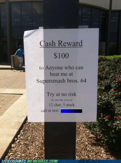 cash reward,Challenge Accepted,IRL,super smash bros