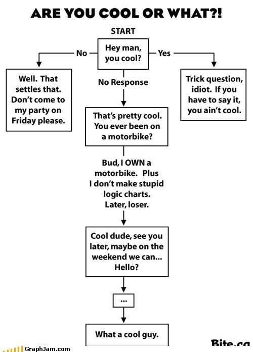 cool,flow chart,loser,trick question