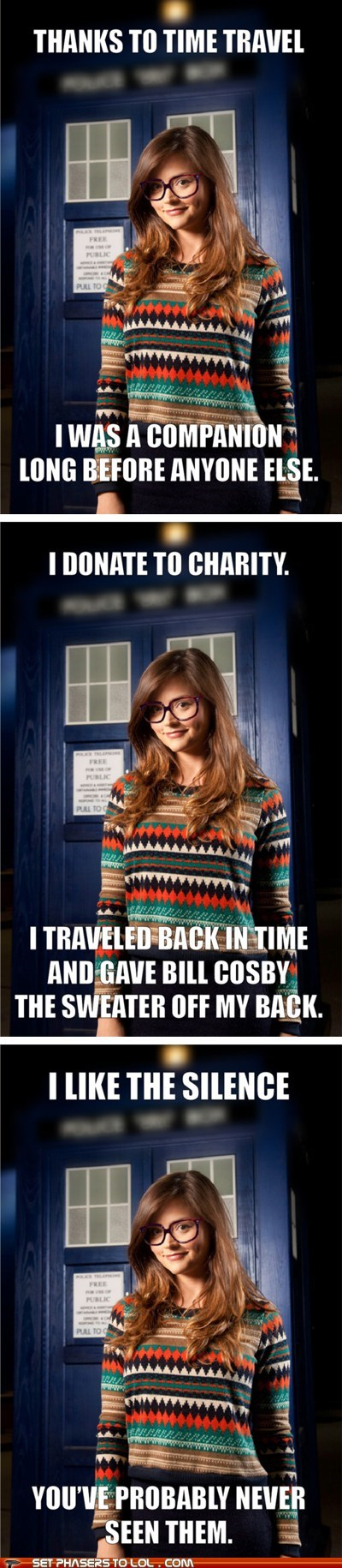 bill cosby,companion,doctor who,hipster,jenna-louise coleman,Memes,silence,sweater,youve-probably-never-heard-of-it