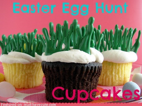chocolate cupcakes easter easter eggs epicute grass hunt - 6061781760