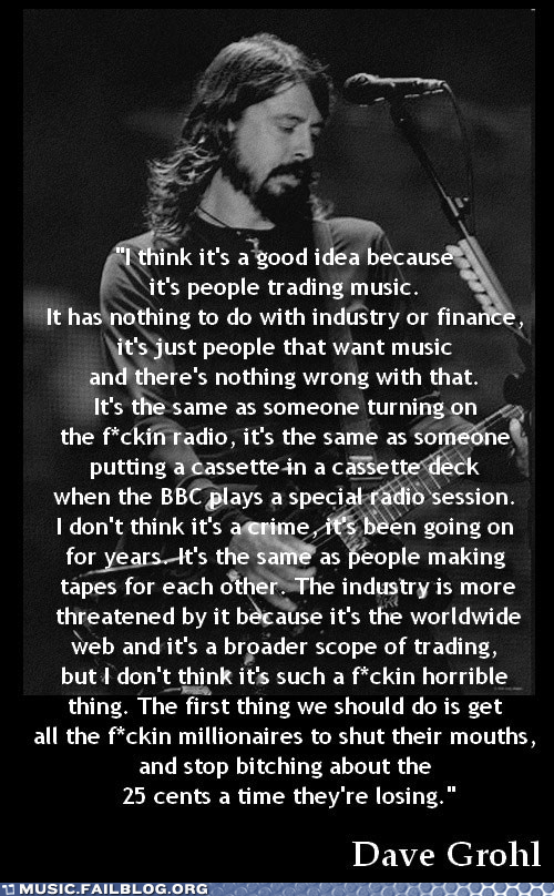 Dave Grohl foo fighters Hall of Fame Music FAILS music industry piracy teh interwebz