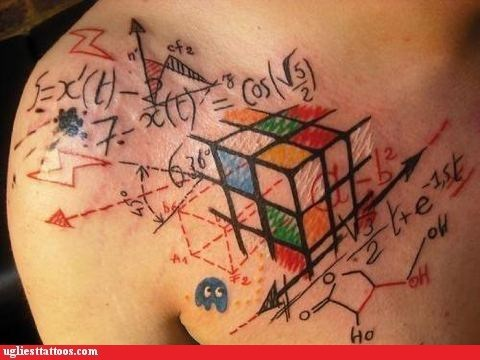 makes no sense,math tattoo,rubiks cube