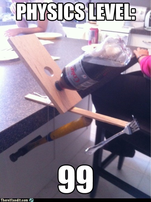diet coke,fork,hammer,physics