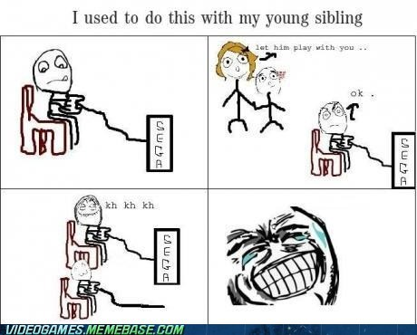 controller,cute,not plugged in,rage comic,sega,siblings