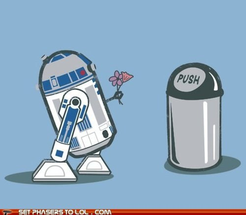 art,droids,flowers,love,r2d2,star wars,trash can,T.Shirt