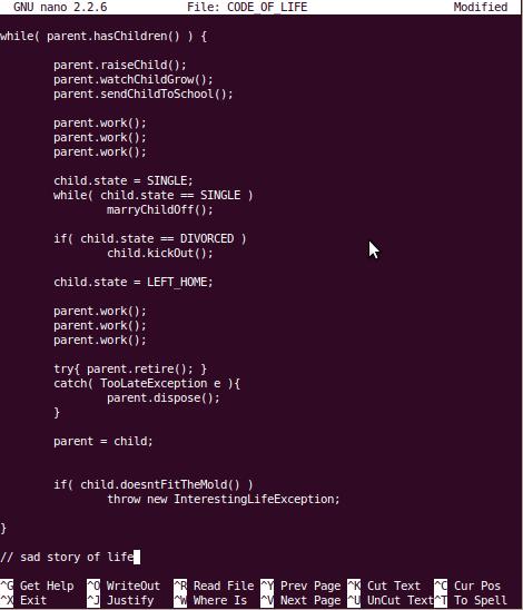 code,code of life,gnu,script