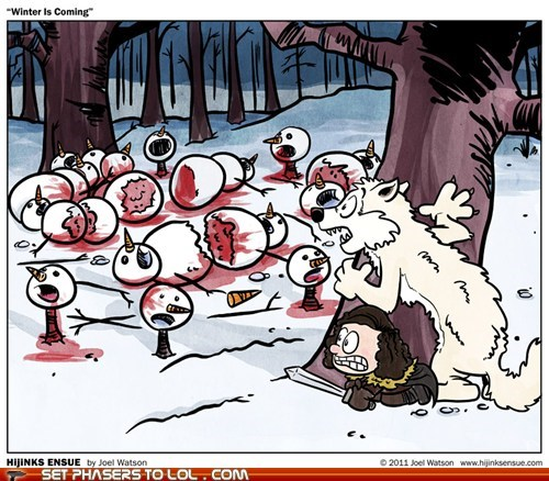 a song of ice and fire,best of the week,calvin and hobbes,Game of Thrones,ghost,Jon Snow,snowmen,Winter Is Coming