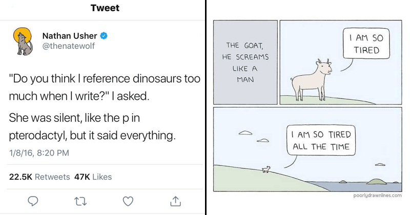 poorly drawn lines twitter goat dinosaur tweets animal comics funny memes goats Memes la croix pterodactyl funny twitter writing animals dinosaurs web comics - 6062341