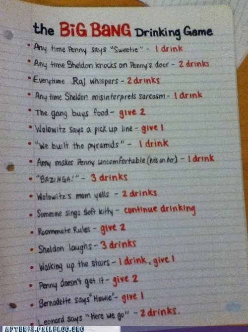 after 12 bazinga big bang theory drinking game g rated Hall of Fame television TV - 6062453504