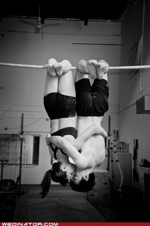 engagement photos,funny wedding photos,gymnastics,KISS