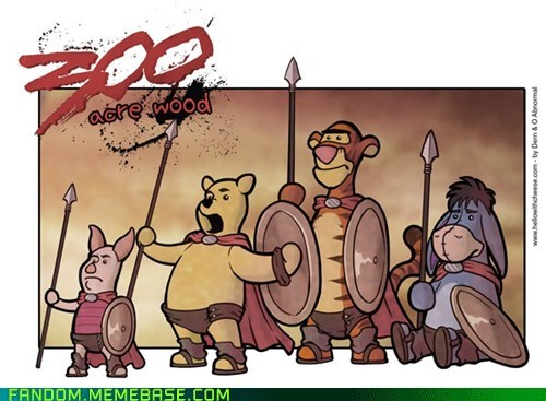 300 cartoons comics crossover Fan Art movies winnie the pooh - 6065028608
