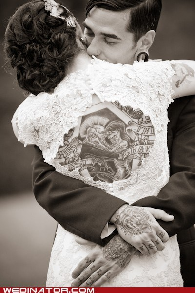 back,bride,classic,classics,funny wedding photos,ink,tattoo