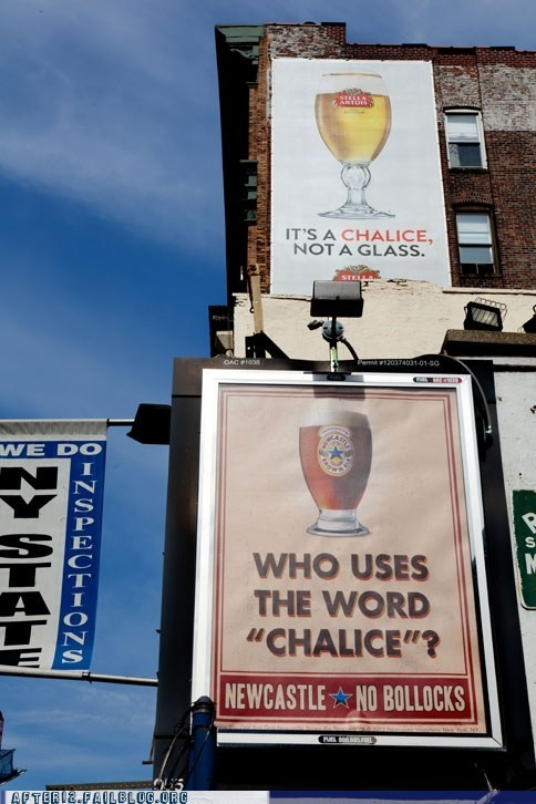 advertisement,beer,clever,glass,Newcastle,pint,stella artois