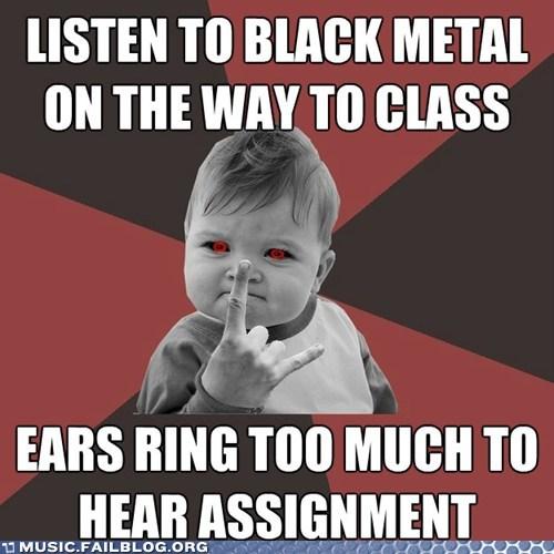 class deaf ears ringing meme metal school success kid