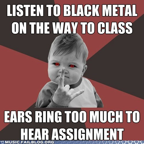 class deaf ears ringing meme metal school success kid - 6065415424