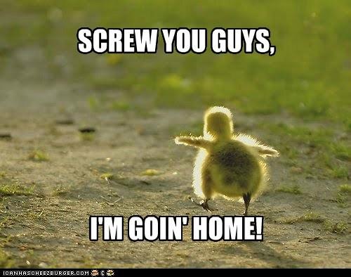 SCREW YOU GUYS, I'M GOIN' HOME!