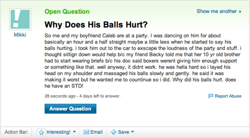 balls hurt,blue balls,sexytimes,yahoo answers,Yahoo! answers