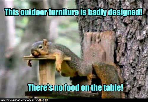 design,disappointment,food,outdoor furniture,Sad,squirrel,table